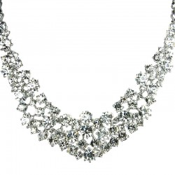 Bridal Costume Jewellery, Fashion Wedding Gift, Clear Diamante Crescent Bib Bold Statement Necklace