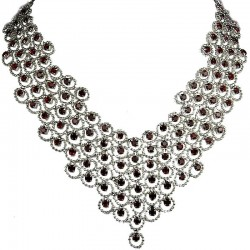 Red Diamante Waterfall Cascade Bib Bold Statement Necklace