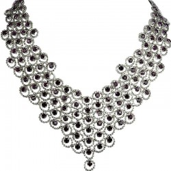 Purple Diamante Waterfall Cascade Bib Bold Statement Necklace