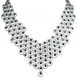 Black Diamante Waterfall Cascade Bib Bold Statement Necklace