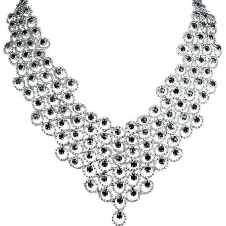 Bridal Costume Jewellery, Fashion Wedding Gift, Black Diamante Waterfall Cascade Bib Bold Statement Necklace