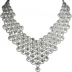 Bridal Costume Jewellery, Fashion Wedding Gift, Clear Diamante Waterfall Cascade Bib Bold Statement Necklace