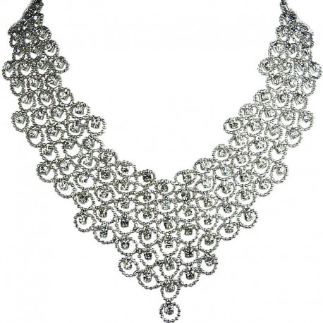 Bridal Costume Jewellery, Fashion Wedding Gift, Clear Diamante Waterfall Cascade Bib Bold Statement Necklace