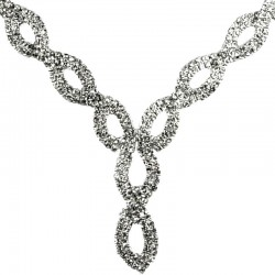 Fashion Women Gift, Costume Jewellery, Clear Diamante Open Teardrop Link Bib Dress Necklace