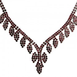 Bridal Costume Jewellery, Wedding Gift, Fashion Red Diamante Graduated Pave Teardrop Necklace