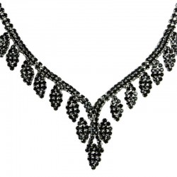Bridal Jewellery, Wedding Gift, Fashion Black Diamante Graduated Pave Teardrop Necklace