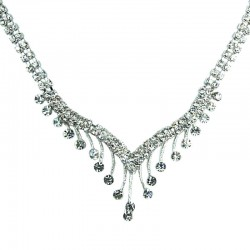 Fashion Bridal Jewellery, Wedding Gift, Clear Diamante Graduated Drop Costume Necklace
