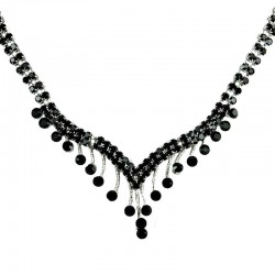 Fashion Bridal Jewellery, Wedding Gift, Black Diamante Graduated Drop Costume Necklace