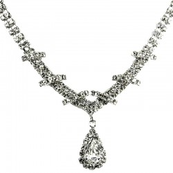 Bridal Costume Jewellery, Wedding Gift, Fashion Clear Diamante Teardrop-In-Love Necklace