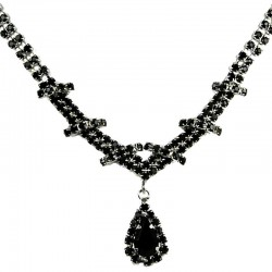 Bridal Costume Jewellery, Wedding Gift, Fashion Black Diamante Teardrop-In-Love Necklace