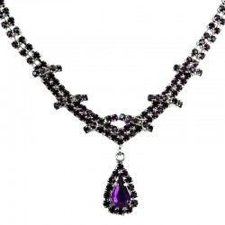 Bridal Jewellery, Wedding Gift, Fashion Purple Diamante Teardrop-In-Love Necklace