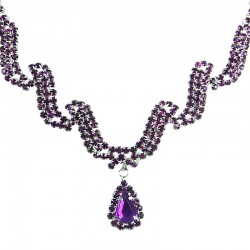 Bridal Jewellery, Wedding Gift, Fashion Purple Diamante Wave Dangling Teardrop Necklace