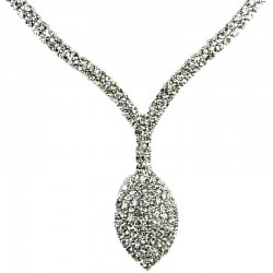 Eomen's Costume Jewellery6, Bib Fashion Clear Diamante Dangle Teardrop Dress Necklace