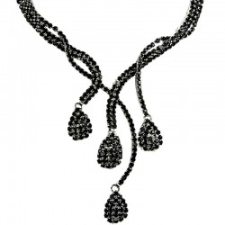 Bridal Costume Jewellery, Fashion Wedding Gift. Black Diamante Cascade Teardrop Wave Bib Dress Necklace