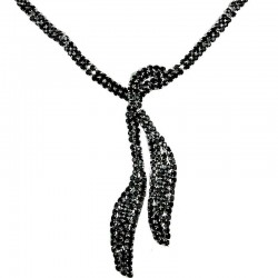 Women's Costume Jewellery, Fashion Wedding Gift, Black Diamante Twin Long Teardrop Bib Dress Necklace