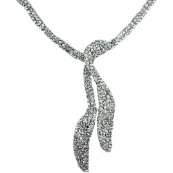 Bridal Wedding Gift, Bib Fashion Costume Jewellery, Clear Diamante Twin Long Teardrop Bib Dress Necklace