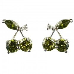 Young Women Costume Jewellery, Fashion Girls Gift, Chic Cute Green Cubic Zirconia CZ Cherry Stud Earrings