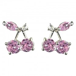 Young Women Costume Jewellery, Girls Gift, Chic Cute Pink Cubic Zirconia CZ Cherry Stud Earrings