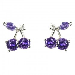 Young WomenCostume Jewellery, Girls Gift, Chic Cute Purple Cubic Zirconia CZ Cherry Stud Earrings