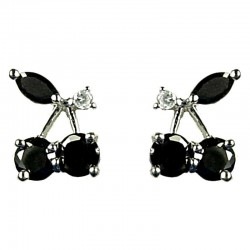 Young Women Costume Jewellery, Fashion Girls Gift, Cute Black Cubic Zirconia CZ Cherry Stud Earrings