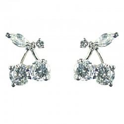 Young Women Costume Jewellery, Fashion Girls Gift, Cute Clear Cubic Zirconia CZ Cherry Stud Earrings