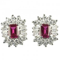 Classic Costume Jewellery, Women Mum Gift, Fuchsia Pink Rhinestone Clear Cubic Zirconia CZ Cluster Stud Earrings