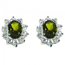 Women Costume Jewellery, Mother Mum Gift, Green Oval Cubic Zirconia CZ Cluster Stud Earrings