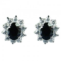 Women Fashion Jewellery, Gift for Her, Black Oval Cubic Zirconia CZ Cluster Costume Stud Earrings