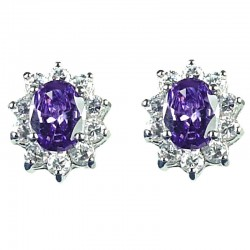 Classic Costume Jewellery, Fashion Women Gift, Chic Purple Oval Cubic Zirconia CZ Cluster Stud Earrings