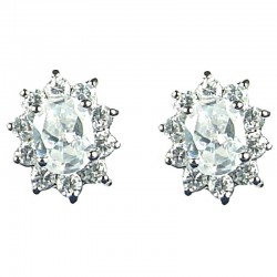 Classic Costume Jewellery, Women Gift, Fashion Earring Studs, Clear Oval Cubic Zirconia CZ Cluster Stud Earrings