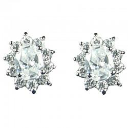 Classic Costume Jewellery, Women Gift, Fashion Earring Studs, Clear Oval Cubic Zirconia CZ Cluster Stud Earrings