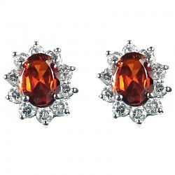 Classic Costume Jewellery, Fashion Women's Gift, Red Oval Cubic Zirconia CZ Cluster Stud Earrings
