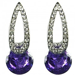 Classic Costume Jewellery, Fashion Earring Studs, Women Gift, Purple Rhinestone Long Teardrop Curved Stud Earrings