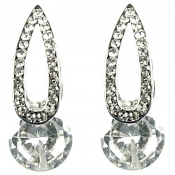 Classic Costume Jewellery, Women Gift, Fashion Earring Studs, Clear Rhinestone Long Teardrop Curved Stud Earrings