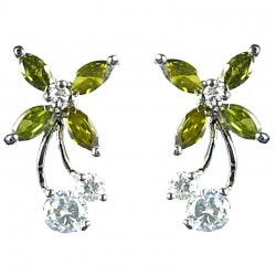 Cute Classic Costume Jewellery, Young Women Girls Gift, Green Cubic Zirconia CZ Flower Fairy Stud Earrings