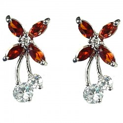 Cut Costume Jewellery, Young Women Girls Gift, Chic Fashion Earring Studs, Red Cubic Zirconia CZ Flower Fairy Stud Earrings