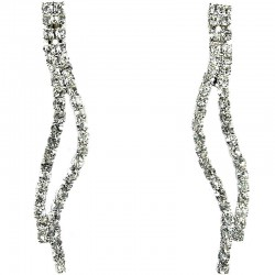 Fashion Bridal Bib Costume Jewellery, Wedding Gift, Clear Diamante Elegant Wave Dress Drop Earrings