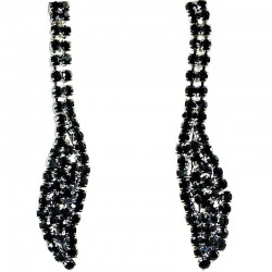 Women Fashion Bib Costume Jewellery, Wedding Gift, Black Diamante Pave Long Teardrop Dress Drop Earrings