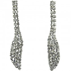 Fashion Women's Costume Jewellery, Wedding Gift, Clear Diamante Pave Long Teardrop Dress Drop Earrings