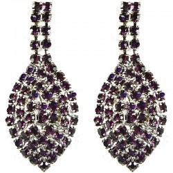 Women's Costume Jewellery, Fashion Bib Purple Diamante Pave Teardrop Dress Drop Earrings