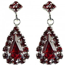 Bridal Costume Jewellery, Wedding Gift, Fashion Red Diamante Teardrop-In-Love Drop Earrings
