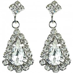 Bridal Costume Jewellery, Wedding Gift, Fashion Clear Diamante Teardrop-In-Love Drop Earrings