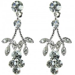 Bridal Costume Jewellery, Fashion Wedding Gift, Bib Clear Diamante Flower Dress Drop Earrings