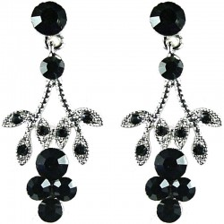 Bridal Costume Jewellery, Fashion Wedding Gift, Bib Black Diamante Flower Dress Drop Earrings