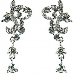 Bridal Costume Jewellery, Fashion Wedding Gift, Bib Clear Diamante Flourish Floral Dress Earrings