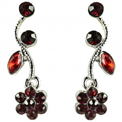 Dressy Bib Costume Jewellery, Ruby Red Rhinestone Diamante Daisy Fashion Flower Drop Earrings