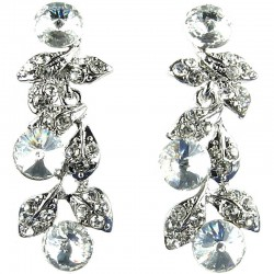 Bridal Costume Jewellery, Fashion Wedding Gift, Bib Clear Diamante Ivy Dew Dress Drop Earrings