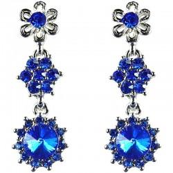 Bridal Costume Jewellery, Fashion Wedding Gift, Bib Royal Blue Diamante Linear Flower Dress Drop Earrings