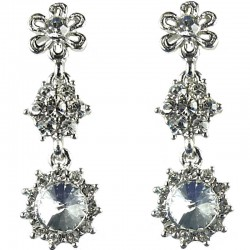 Bridal Costume Jewellery, Fashion Wedding Gift, Bib Clear Diamante Linear Flower Dress Drop Earrings