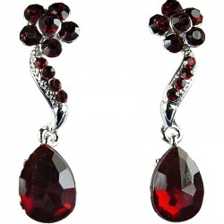 Bridal Costume Jewellery, Fashion Wedding Gift, Bib Dark Red Diamante Daisy Teardrop Dress Drop Earrings